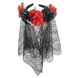 NISOWE Halloween Bandeau De Fleurs Couronne RéGlable AraignéE Maille Halloween Coiffe Rose Fleur Accessoires De Bal