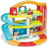 Smoby Toys, 120401, Vroom Planet, Grand Garage, Multi-Activités, + Mini Bolide et 4 Pistes à Assembler