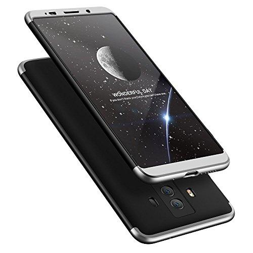 Wouier Huawei Mate 10 Pro Hülle, 3 in 1 Ultra Dünner PC Harte Case 360 Grad Ganzkörper Schützend Anti-Kratzer Schutzhülle für Huawei Mate 10 Pro (Schwarz+Silber, Huawei Mate 10 Pro) (10 Matte)