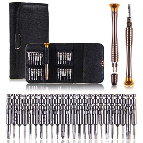 Mini Schraubendreher Set, Aostar 25-teilig Werkzeug Tasche Reparatur Set Werkzeugset für PC, Brillen, Handy, Laptop in Lederetui (25-teilig)