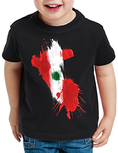 CottonCloud Flagge Peru Kinder T-Shirt Fußball Sport WM EM Fahne, Farbe:Schwarz, Größe:152
