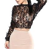 Hffan Damen Hollow Sexy Shirt Durchsichtig Perspektive Leichtgewicht Bluse Langarm Mode Elegant Tops Schmetterling Bogen Dekoration Stehkragen Oberteile Schwarz Weiss(Schwarz,Small)
