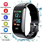 Fitness Tracker, 2018Upgrade Activity Tracker mit Schrittzähler Blut Druck Herzfrequenz Monitor Wasserdicht IP67Schritt Kalorien Abstand Tracker Call SMS SNS erinnern für Männer Frauen Kinder Android iPhone