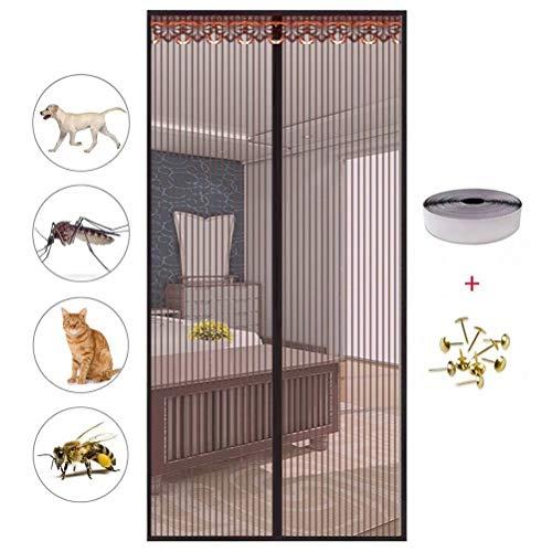 YKXY Fliegenschutz,Mit Magnet Keine Mücken mehr Magnetvorhang Fliegenvorhang Magnetverschluss Insektenschutz-Brown100*210cm