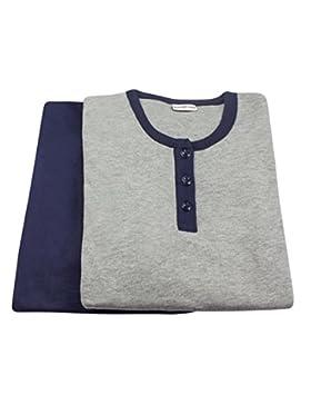 Pigiama donna invernale Buccia di Mela in caldo cotone interlock TG S M L XL colori: maglia grigia pantalone blu...