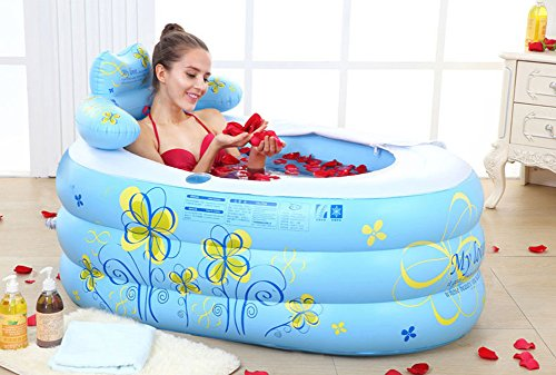 DMGF Faltbare Aufblasbare Badewanne Adult SPA Freistehende Badewanne Verdicken Haus Mit Elektrischer Luftpumpe Rückenlehne Blau/Pink,Blue