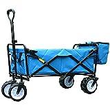 Faltbarer Bollerwagen Handwagen Schubkarre Tragbar Schwerlast mit Box Hohe Kapazität Draussen Camping, 5 Farben (Farbe : Dunkelblau, größe : 85 x 50 x 28cm)