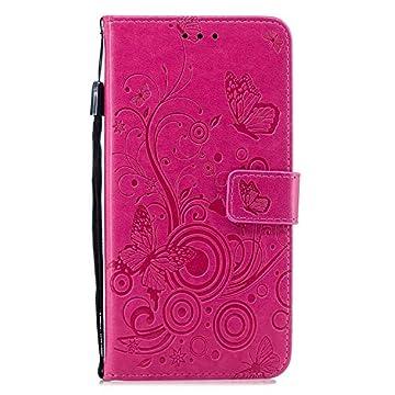 HCUI Compatible avec iPhone XS Max Coque Cuir Étui Wallet Housse Papillon Fleur Motif Portefeuille de Protection Coque avec Fonction Support Magnétique Pochette Antichoc Coque - Rose Red. par HCUI