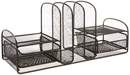 Safco Products 3263BL Onyx Mesh Desktop Organizer with 3 Vertical Sections/2 Baskets, Black by Safco Products