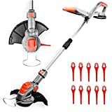 Cordless Strimmer 18V/20V-Max Lithium-Ion, Telescopic Lightweight Powerful Grass Trimmer, 25cm Cutting Diameter, Battery