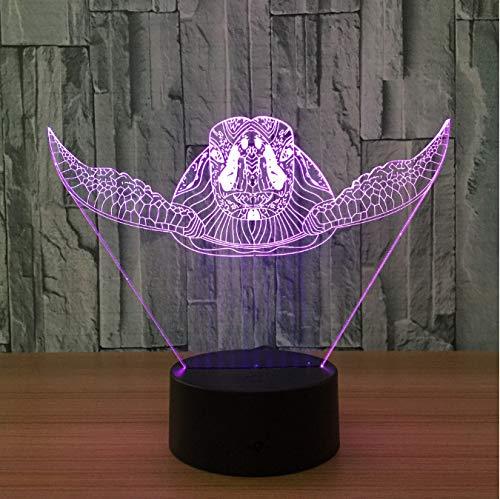 Regalo di natale della lampada da tavolo della tartaruga della novità della lampada da tavolo della luce di cambiamento di colore 7 della luce di notte del Ust visivo 3D delle tartarughe marine