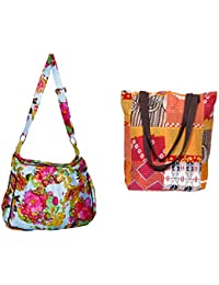 Indiweaves Combo Pack Of 1 Cotton Kantha Tote Bag And 1 Cotton Shopper Bag (Pack Of 2) 82100-129165-IW-P2