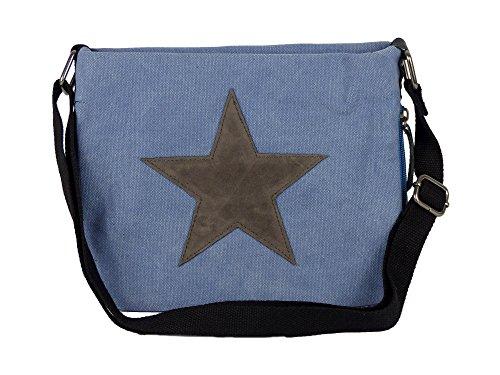 Bunte Umhängetasche Canvas - aufgenähter Stern - Maße 27 x 20 cm /ohne Schulterriemen) - Damen Mädchen Teenager Tasche - Taschen Für Mädchen Teenager