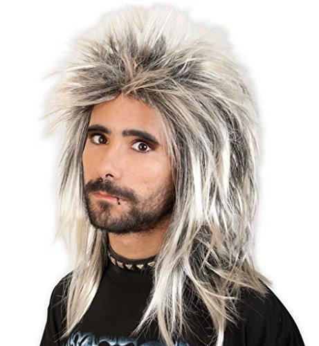 Kostüm Jahreszeiten Kiss - Perücke Popstar Promi-Perücke 80er Jahre Rocker Vokuhila Ryan Popstar hellblond - schwarz stylisch