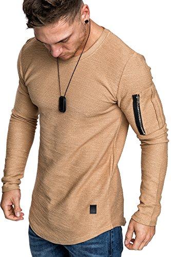 Amaci&Sons Oversize Vintage Herren Pullover Cargo-Style Hoodie Sweatshirt Crew-Neck 6067 Beige M (Crew Sweatshirt)