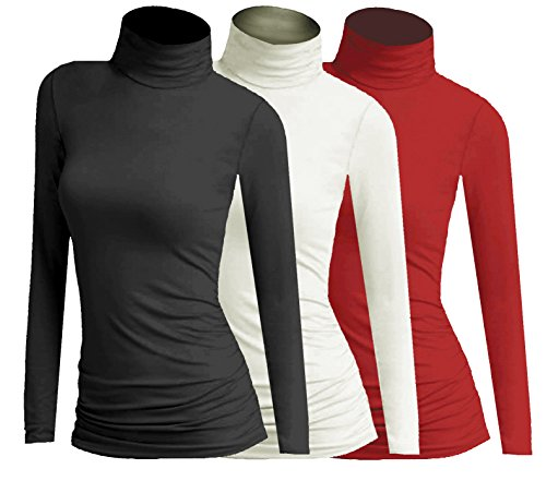 3x Damen Frauen Langarm Rollkragen - Rolli - Rollkragenshirt - Turtleneck T Shirt - 3er Pack - Basic TShirt Tops - 3 in 1 (Schwarz + Creme + Rot) (Pullover Basis-frauen)
