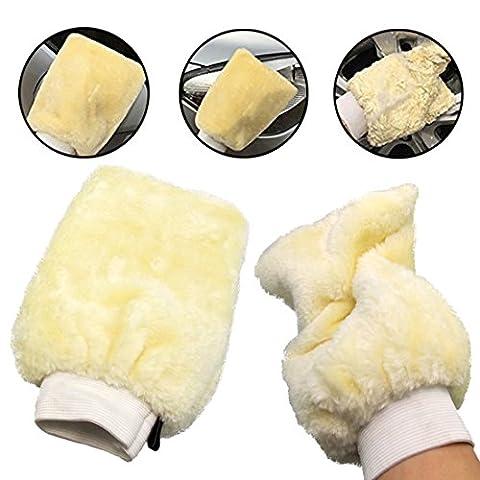 Blanc–Gant de toilette nettoyant pour voiture caravane maison maison cuisine salle de bain Gant de toilette en microfibre humide sec Lavage à la main gant de toilette beige