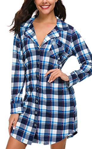 NORA TWIPS Schlafanzugoberteile für Damen, Nachthemden für Damen, Damen Schlafanzug Set, Damen Viskose Nachthemd Knopfleiste Sleepshirt Alle Jahreszeiten(MEHRWEG), 36-38/S, Blau Plaid