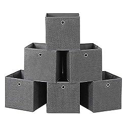 SONGMICS Aufbewahrungsbox, 6er Set, faltbare Stoffbox, Aufbewahrungskorb, Organizer für Spielzeug, Kleidung, Rauchgrau RYFB06G