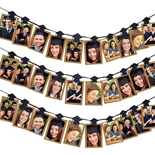 Aneco 30 Stück Graduationskappe Foto Banner Clip Girlande Abschluss Kappe Form Foto Clip Girlande für 2019 Abschlussfeier Party Dekorationen