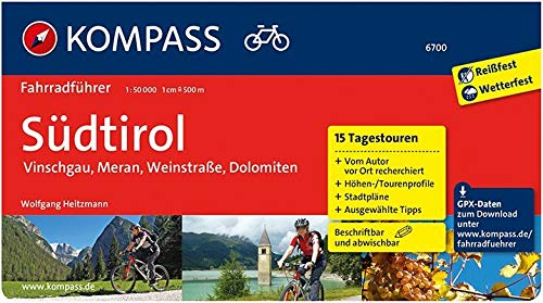 KOMPASS Fahrradführer Südtirol - Vinschgau, Meran, Weinstraße, Dolomiten: Fahrradführer mit Routenkarten im optimalen Maßstab.: Fietsgids 1:50 000