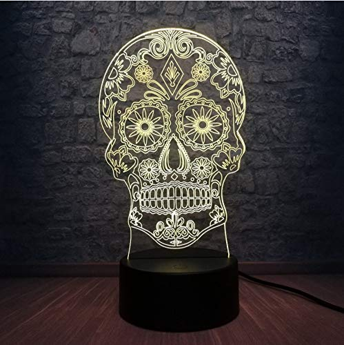 Blume Schädel Kopf 3D Led Usb Lampe Terror Thema Party Dekoration Scary Halloween Geschenk Horrible Atmosphäre Farben Ändern Birne ()