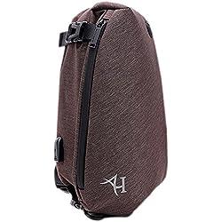 Arctic Hunter Sling Bag Rucksack Wasserdicht Brust Tasche für Herren Umhängetasche Schulter Fashion mit USB-Ladeanschluss, Braun