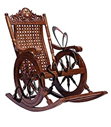 Aarsun Handcrafted Rocking Chair in Chariot Design with Brass Design
