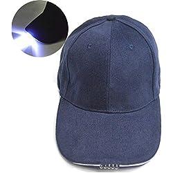 5LED gorra de béisbol, favolook Super brillante luz intermitente ajustable Velcro pesca Ciclismo Senderismo camping al aire libre sombrero con recargable linterna frontal, azul