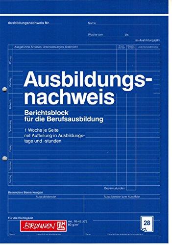 """Ausbildungsnachweis / Berichtsblock """"BRUNNEN"""" 28 Blatt / A4 (Berufsschule) blau"""