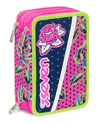 Astuccio 3 zip seven , romantic , blu rosa , con contenuto: matite, pennarelli ...