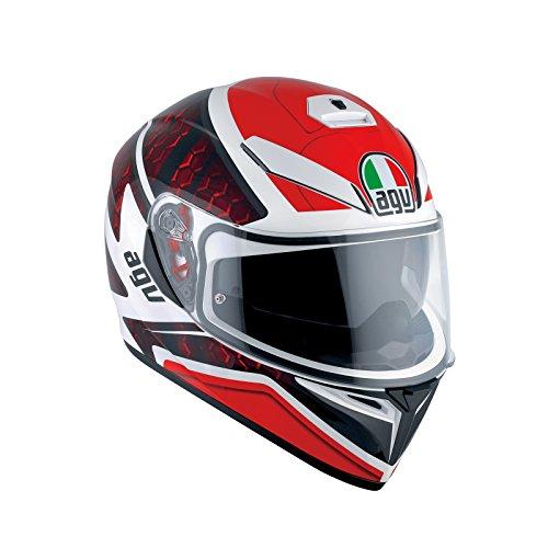 AGV K3SV pulso DVS Full Face casco de moto, color blanco/negro/rojo