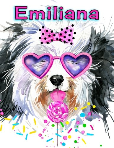 "Emiliana: Personalized Book with Name, Journal, Notebook, Diary, 105 Lined Pages, 8 1/2"" x 11"", Birthday, Friendship, Christmas Gifts for Girls, Women, and Dog Lovers"