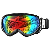 OutdoorMaster Kids Ski Goggles - Helmet Compatible Snow Goggles for Boys & Girls with 100% UV Protection (Black Frame + VLT 14% Grey Lens with REVO Colourful)