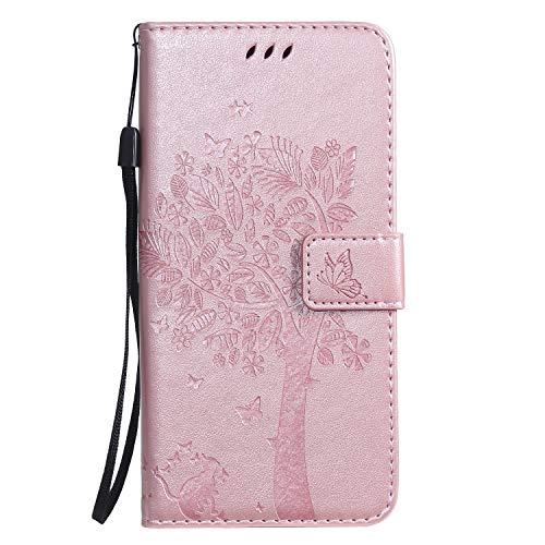 Miagon für Huawei P Smart 2019 Geldbörse Wallet Case,PU Leder Baum Katze Schmetterling Flip Cover Klapphülle Tasche Schutzhülle mit Magnet Handschlaufe Strap