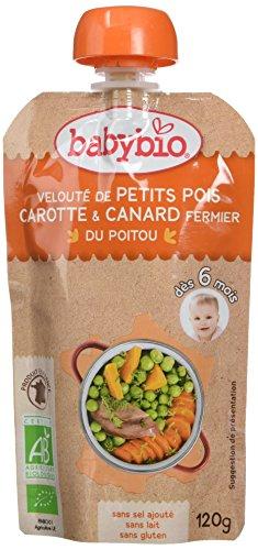 Babybio Gourde Velouté de Petits Pois Carotte/Canard Fermier du Poitou 120 g - Lot de 7