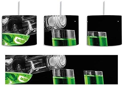 Dark Grüner Absynth schwarz/weiß inkl. Lampenfassung E27, Lampe mit Motivdruck, tolle Deckenlampe, Hängelampe, Pendelleuchte - Durchmesser 30cm - Dekoration mit Licht ideal für Wohnzimmer, Kinderzimmer, (Grün Wodka)