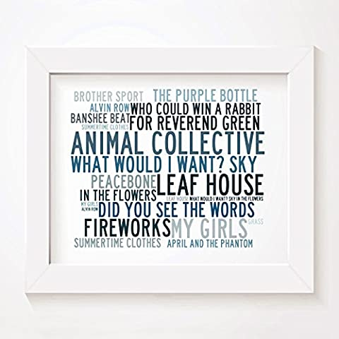`Crystalline` Kunstdruck Poster - ANIMAL COLLECTIVE - Unterzeichnet und Nummerierten Limitierte Auflage Singles Typografie Ungerahmt 25 x 20 cm (10 x 8 inch) Wand Kunst Druck Text Lyrisch Grafik Plakat - Song Lyrics Art Print Poster