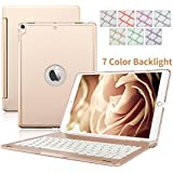 iPad Air 2 Funda y Teclado, teclas de Dingrich portátil elegante ultra slim wireless Bluetooth Keyboard Cover con retroiluminación 7 colores cómodo Apple iPad Teclado de aluminio de Bluetooth Folio Keyboard Funda Flip Smart Cover Funda de transporte Funda Soporte Para Ipad Air 2 Tablet