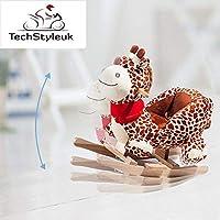 Techstyleuk® Animal Baby Rocking Horse Children Toy Seat Giraffe with 32 Songs Ride Wood UK