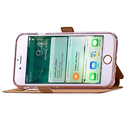 Case Cover per iPhone 7, Gray Plaid Design [View Window] Premium Flip PU Pelle Custodia Case Cover Per iPhone 7 - Oro Oro