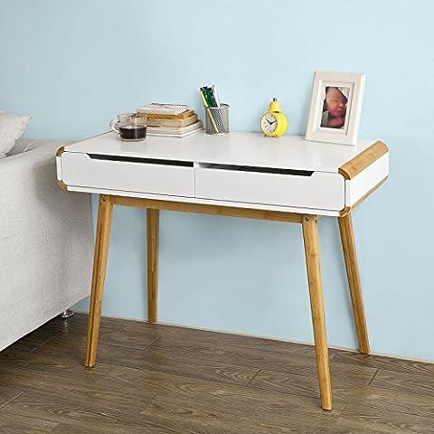 SoBuy® Mesa de escritorio, mesa de ordenador con 2 cajones, FWT19-WN, ES