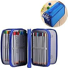 Zjchao Astuccio porta-matite colorate per 72 pezzi, grande capacità, a più strati, per scuola, ufficio, per ragazze adolescenti (matite non incluse) Blue
