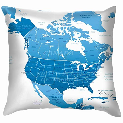 North America Blue Map Education Soft Cotton Linen Cushion Cover Pillowcases Throw Pillow Decor Pillow Case Home Decor 18X18 Inch