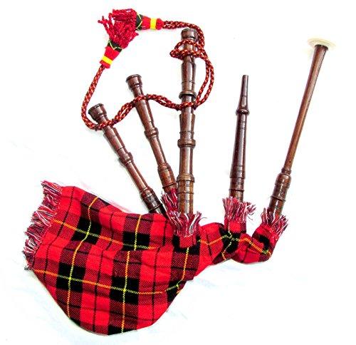 Spielbarer, schottischer Mini-Dudelsack für Kinder, Pfeifen aus Rosenholz, Beutel mit Schottenmuster Gr. Einheitsgröße, Tartanmuster
