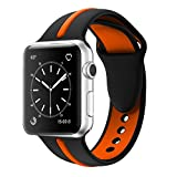 für Apple Watch Band, Solomo [Sport Serie] Fashion Soft iWatch Strap aus langlebigem Silikon Ersatz Streifen Farbe Verbindung Stil mit Frauen/Herren Armband für Apple Watch Nike +, Series 3/2/1 (42MM, Orange)