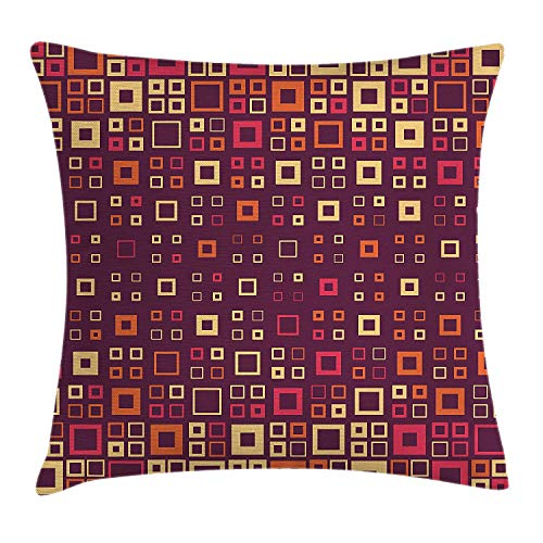 Trsdshorts Geometric Throw Pillow Cushion Cover by, Abstract Pattern of Square Geometric Design Decorations for Home Print, Decorative Square Accent Pillow Case, 18 X 18 Inches, Maroon Amber Cream - Amber Body Cream
