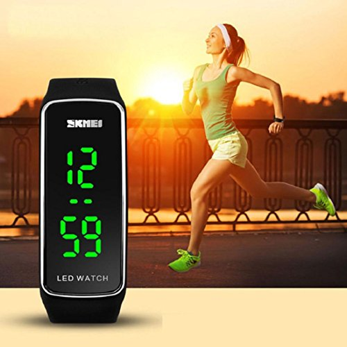amison Männer Frauen Mode Silikon LED Sport Armreif berühren digitale Armbanduhr Uhr, Frauen Herren Kinder, Schwarz