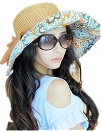 Autek cap Japon et Corée du Sud Mme pliable tour bohème chapeau soleil d'été le long de la plage de chapeau de grand chapeau de paille à larges bords (552)
