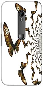 Snoogg kaleidoscopic butterflies Hard Back Case Cover Shield For Motorola G 3rd generation (Moto G3)